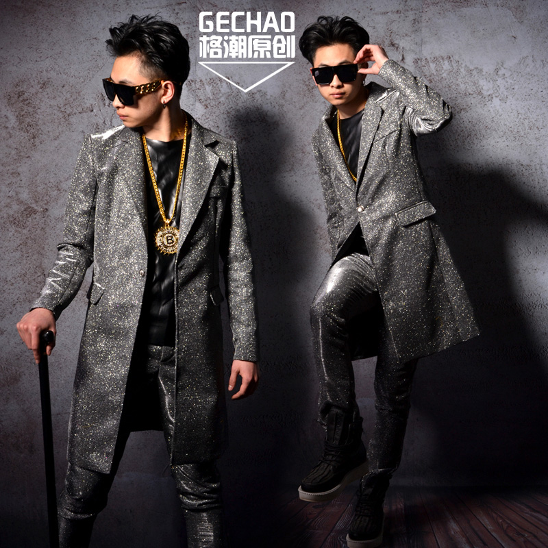 Nightclub Male Singer DS DJ GD Silver glitter Long suit Jacket costumes Party show stage performance clothing set Men's outwear