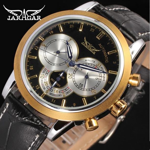 JARAGAR Men Luxury Brand Watch Leather Casual Fashion Tourbillion Automatic Mechanical Wristwatch Gift Box Relogio Releges 2016 jaragar men luxury watch stainless steel tourbillion automatic mechanical wristwatch relogio releges