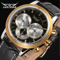 JARAGAR Men Luxury Brand Watch Leather Casual Fashion Tourbillion Automatic Mechanical Wristwatch Gift Box Relogio Releges 2016
