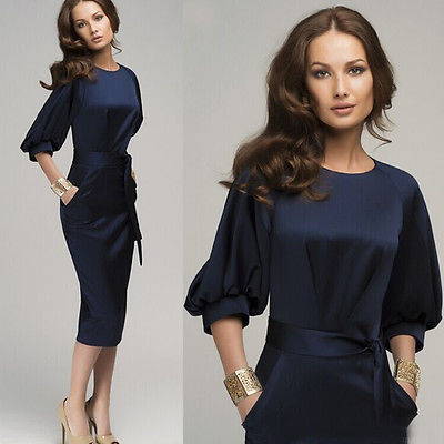 2017Summer Spring Woman Dress Clothing New Sexy Women Summer Casual Puff Sleeve Sashes Sheath Wear To Work Party Midi Dress