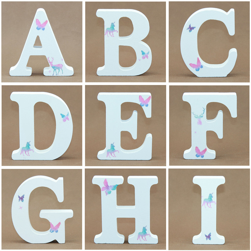 1pcs 10X10cm White Wooden Letters Decorative Alphabet Word Wood Letters Butterfly Wedding Party DIY Name Design Art Crafts