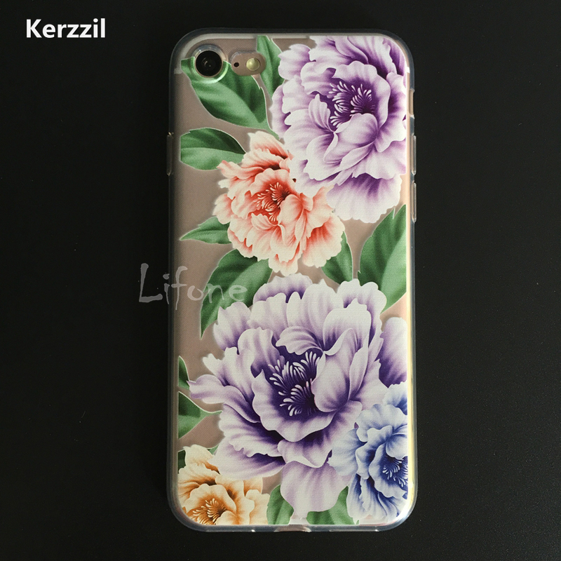 Kerzzil Fashion Phone Case For iPhone 7 6 6s Plus Luxury Colorful Rose Flower Cover Back Cases Coque Fundas For iPhone7Plus Capa