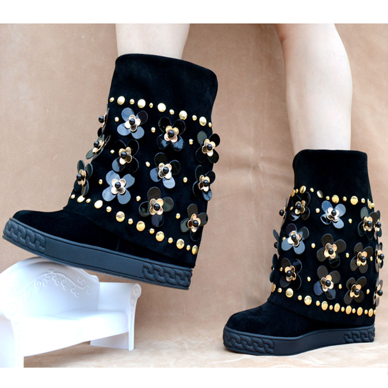 Hot Fashion  8cm Black Cow Suede Mid-Calf Shoes Round Toe Height Increasing Womens Shoes Flower Rivet Platform Womens BootsHot Fashion  8cm Black Cow Suede Mid-Calf Shoes Round Toe Height Increasing Womens Shoes Flower Rivet Platform Womens Boots
