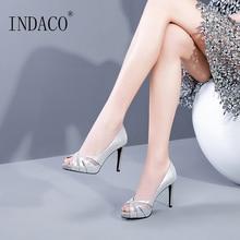 Heels Women Shoes Black Silver Pumps High Heel Platform 9cm Leather Mesh