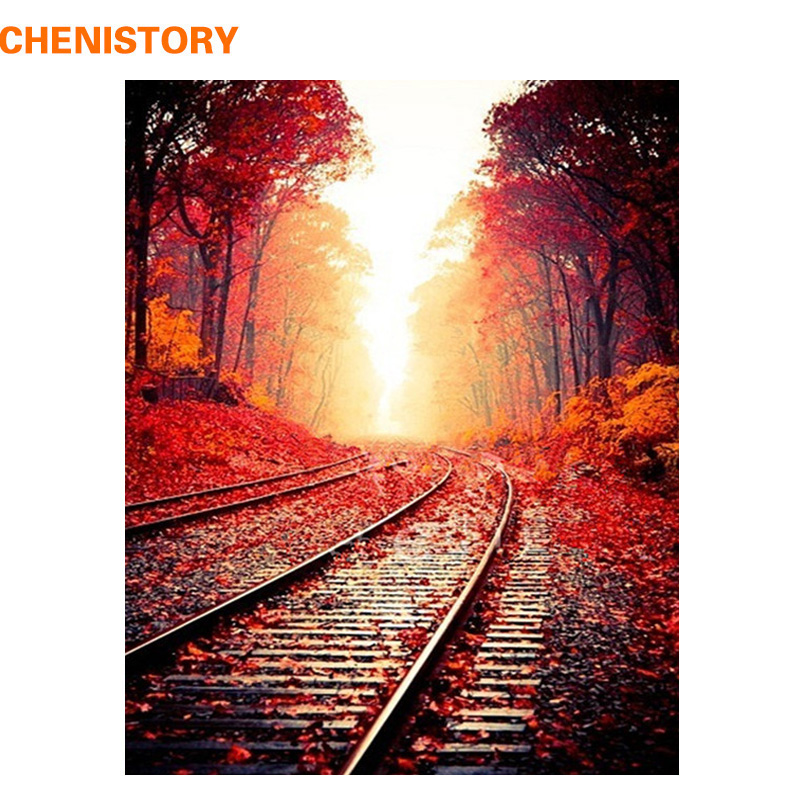 CHENISTORY Frameless Autumn Railway DIY Painting By Numbers Landscape Modern Wall Art Painting Picture By Numbers For Home Decor