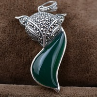 The fox S925 silver inlaid Natural stone Pendant antique crafts handmade accessories