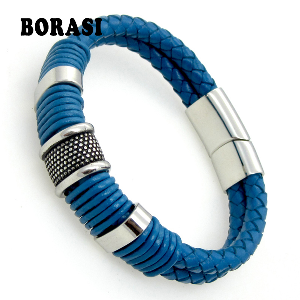Blue Genuine Leather Bracelet Men Jewelry Stainless Steel Leather Braid Bracelet With Magnetic Buckle Claps pulseiras