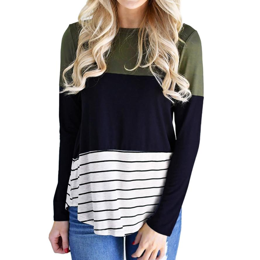 JAYCOSIN 2018 Fashion Women Casual Stripe Color Block Long Sleeve O Neck Tops Blouse j25