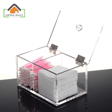 New Design Clear Acrylic Cotton Swab Box Q-tip Storage Holder Cosmetic Makeup tool Women Storage Box With Lid BF310-3