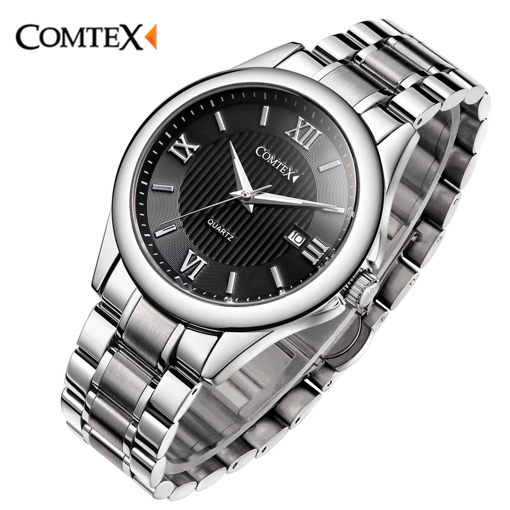 ФОТО COMTEX Men Quartz Watch Stainless Steel Bracelet With Roman Numerals And Big Dial Fashion Brand Watch Men Relogio Masculino