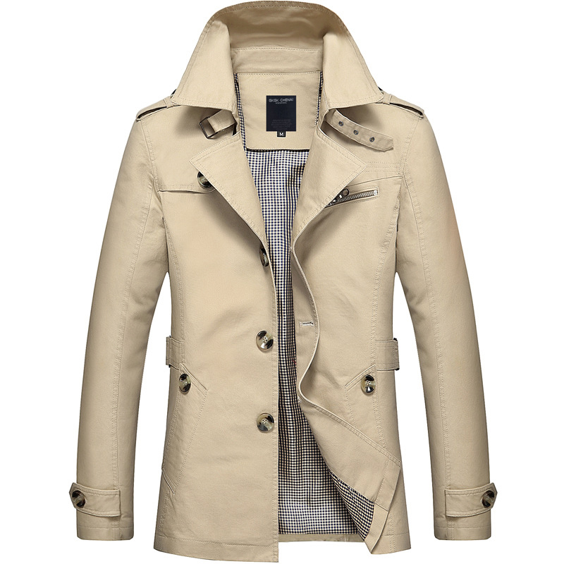 British Fashion Jackets Men Autumn Streetwear Casual Outwear Khaki Smart Long Trench Men Windbreaker Classical Business Coats