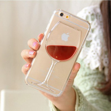 Red Wine Glass Liquid Quicksand Phone Case For iPhone 4 4S 5 5S 5C 6 6S 7