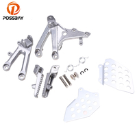 POSSBAY Aluminum Motorcycle Foot Pegs Footrest Motorbike Foot Pedals Scooter Part With Brackets Set For Honda CBR600RR 2007 2014