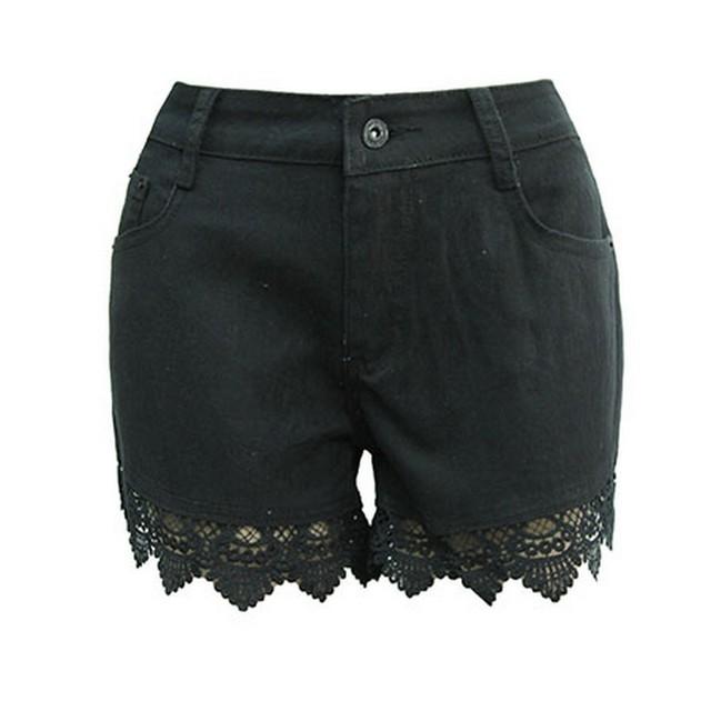 2017 Verão Rendas de Croché Oco Shorts Feminino Shorts Jeans Mulheres De Cintura Alta Shorts Jeans Feminino Plus Size Preto Curto FL359