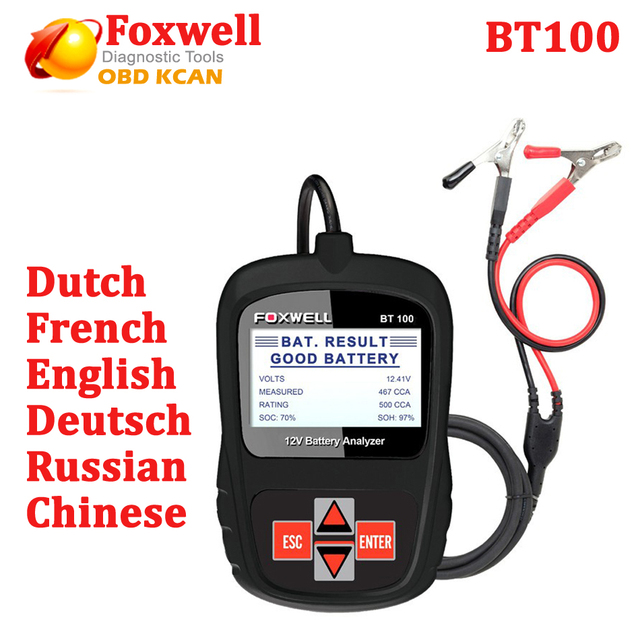 FOXWELL BT100 12V Car Battery Tester for Flooded, AGM, GEL Original BT 100 12 V Battery Analyzer Free Shipping