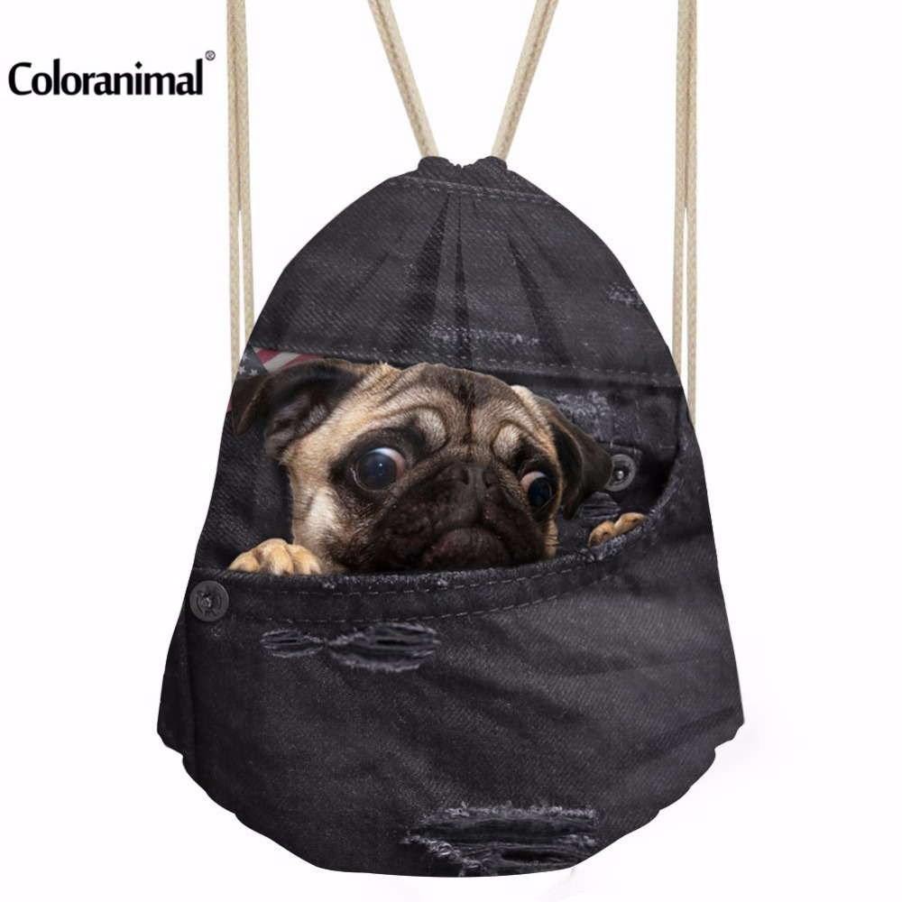 Instantarts Black Denim 3d Pug Dog Print Gym Bags Drawstring Backpack Outdoor Travel Swim Climbing Sport String Bags For Shoes