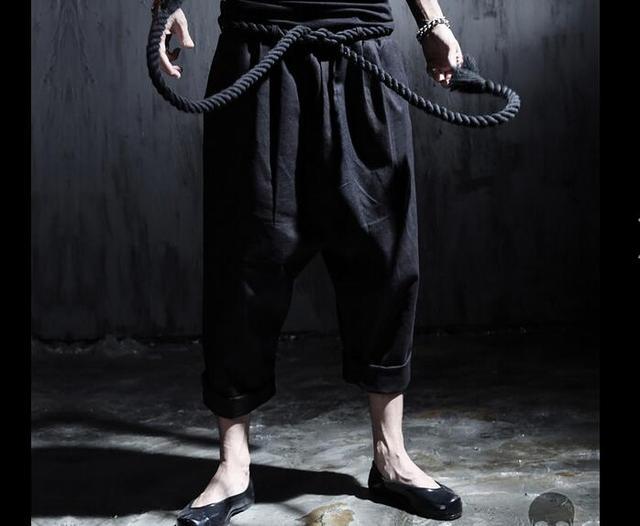 2016 estilos 3 crassi Corda Preta Sashes Harem Pants Bezerro-Comprimento Calças Soltas Calças De Linho De Algodão para o Homem