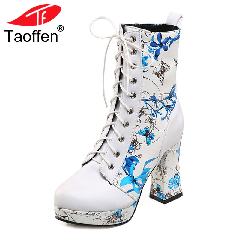 TAOFFEN Women Shoes Women Boots Lace Up High Heel Squared Heels Print Flowers With Fur New