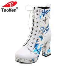 TAOFFEN/женская обувь сапоги на высоком каблуке на шнуровке Квадратные каблуки с цветочным принтом с мехом новый дизайн модная обувь Размеры 33-43