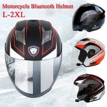Motorcycle Bluetooth Helmet Headset Speaker Half Open Face Safety Full Shield Visor Bike Motocross Riding Helmets недорого