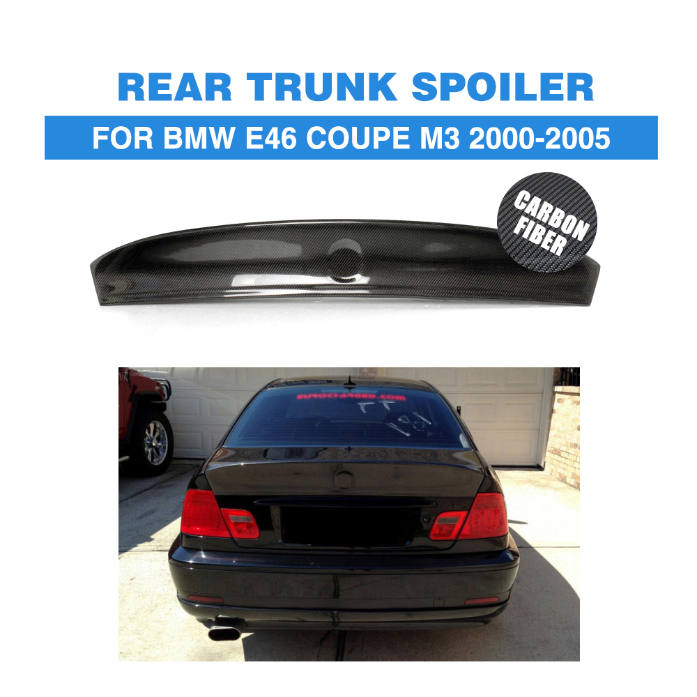 Carbon Fiber Rear Trunk Spoiler Wing For BMW E46 Coupe M3 2Door 2000-2005 Boot Spoiler Car Styling for bmw 3 series e46 m3 spoiler 2001 2002 2003 2004 2005 2dr 4dr black carbon fiber rear wing spoiler