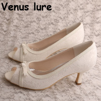 Ivory Lace Peep Toe Heels for Women Brides Wedding Shoes Mid Heel Bow Pumps