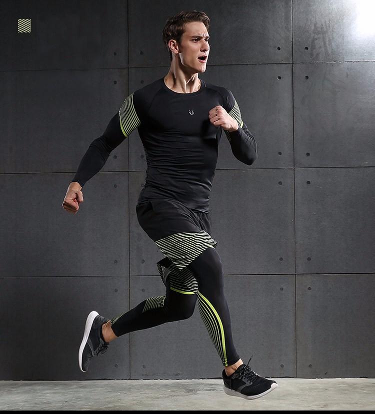3 Sztuka Zestaw męska sport przebiegu stretch rajstopy legginsy + t shirt + spodenki spodnie treningowe jogging fitness gym kompresji garnitury 31