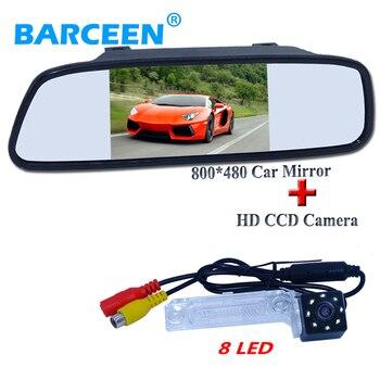 "5"" car parking mirror monitor+on sale car rear reversing camera bring 8 led for Volkswagen PASSAT B5/Jetta/Touran/Caddy"