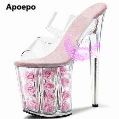 d55d7519264 2017 nuevas mujeres del diseño cristal zapatillas súper tacones altos  zapatos zapatillas fuera flor bonita 9