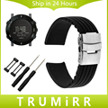 24mm Silicone Watchband Safety Buckle Strap for Suunto Core Smart Watch Band Wrist Belt Rubber Bracelet Black + Adapter + Tool