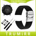 24mm pulseira de silicone de segurança buckle strap para suunto core inteligente Cinto de Faixa de relógio de Pulso Pulseira De Borracha Preta + Adaptador + ferramenta