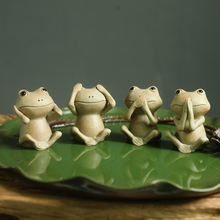 Creative Lovely Animal Frog Tea pet figurines Ceramic common pond frog Arts and Crafts fairy garden Mini miniatures home decor