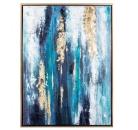 Hand Painted Original Abstract Modern Art Contemporary Painting Abstract gold blue Wall Art Decor Textured Large Artwork