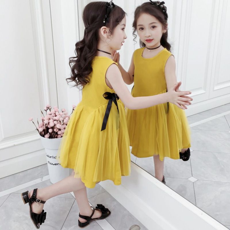 CROAL CHERIE Yellow Party Princess Dress Girl Summer Kids Dresses for Girl Costume Fashion Children Girls Clothing Bow Dress  (1)