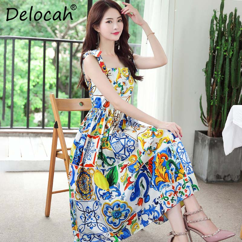 o0o Delocah 2018 New Women Summer Dress Runway Fashion Design Spaghetti  Strap Floral Print Elegant Party Midi Cotton Dress vestidos-in Dresses from  Women s ... 90b36cbc9646