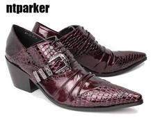 New 2014 Gothic Rock Mens leather shoes business causal High-increasing wedding for men, BIG SIZES EU38-45