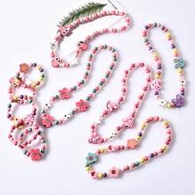 Милые Мультяшные Деревянные ювелирные изделия из бисера, ожерелье для маленькой девочки, детское ожерелье с животными для принцессы, для ве...