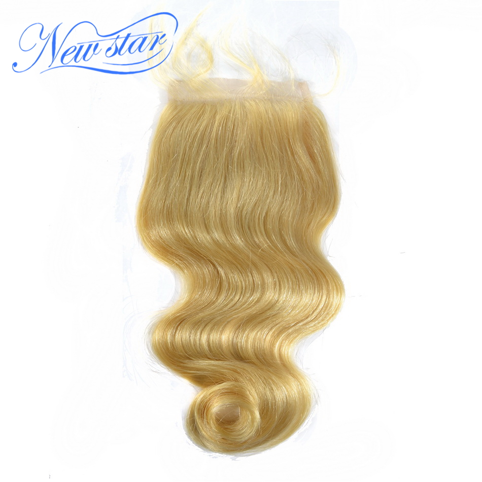 #613 new star bleached knots 4*4inches size free style unprocessed virgin hair blonde color swiss lace closure body wave weave