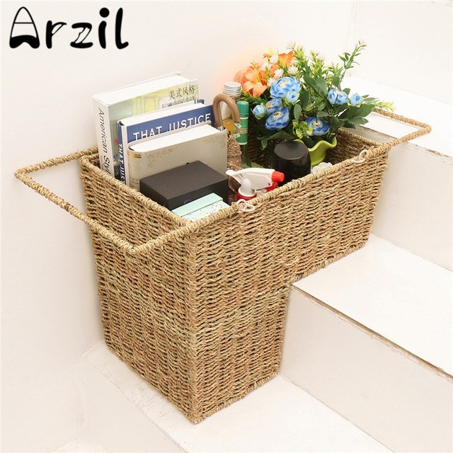 Superieur Woven Wicker Stair Basket Organizer Seagrass Stylish Cosmetic Box With  Handle Zakka Container Storage Clothes Children