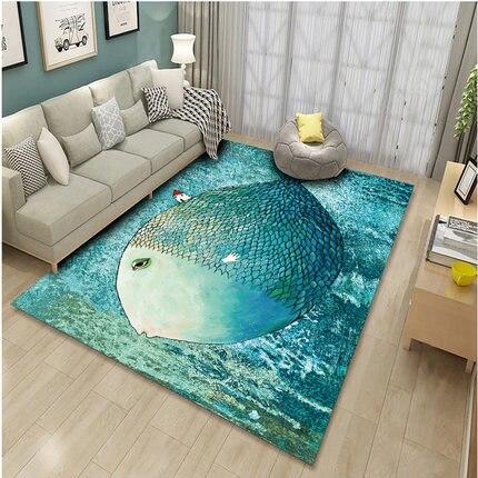 Tapis personnalisés motif poisson 1.8X1.7M taille salon tapis canapé Table basse tapis décoration de la maison décoration de mariage