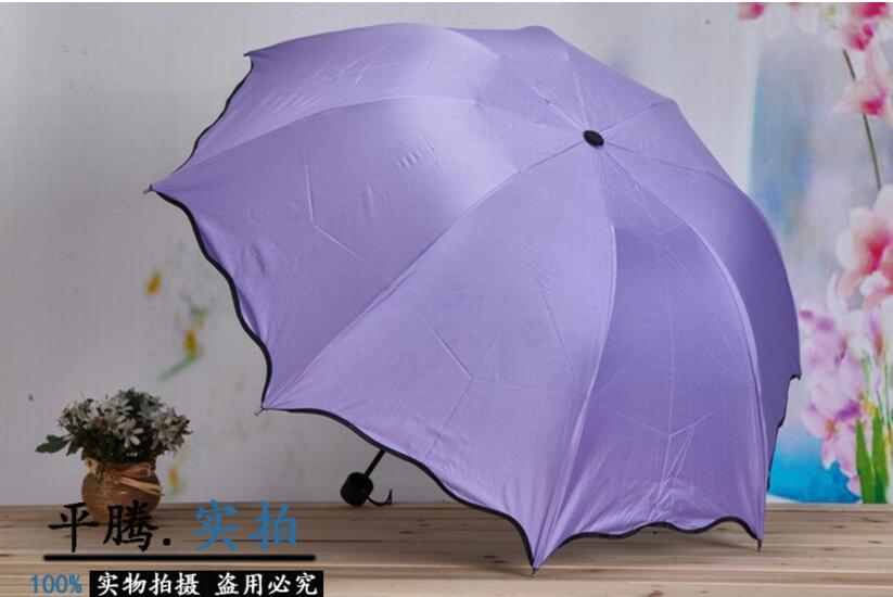 Rain Gear Water discoloration flower Summer Four-folding Sun/Rain Foldable Anti-UV Umbrellas Women Flouncing Dome Parasol