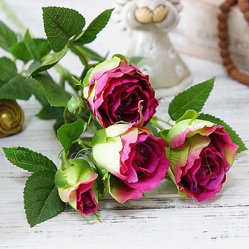 Fiore artificiale Fiore Falso Bocciolo di Rosa per la Cerimonia Nuziale del Fiore di Simulazione Casa Vaso di Hotel Puntelli Del Partito Decor Regalo di san valentino 1 Ramo