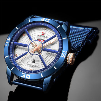 NAVIFORCE Mens Watches Top Brand Luxury Sport Watch Mesh Steel Date Week Waterproof Quartz Watch for Men Clock Relogio Masculino 3