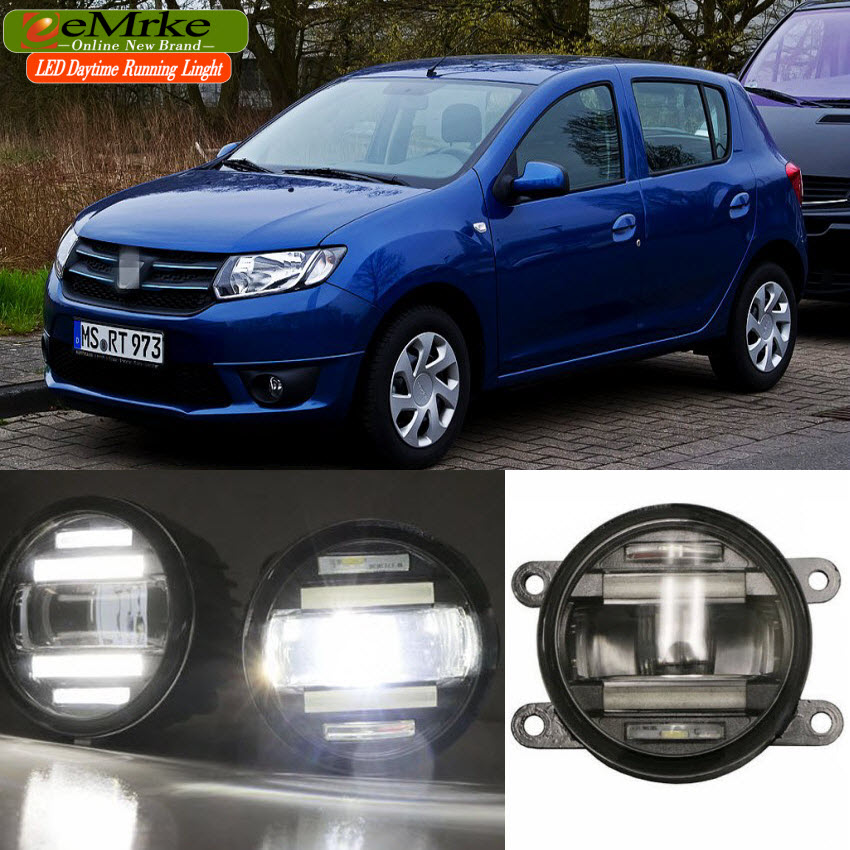 eeMrke Car Styling For Dacia Sandero I II 2008- 2 in 1 LED Fog Light Lamp DRL With Lens Daytime Running Lights eemrke car styling for opel zafira opc 2005 2011 2 in 1 led fog light lamp drl with lens daytime running lights