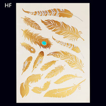 Feather Design 1Sheet Flash Tattoo Gold Temporary Tattoos Glitter Stickers Sexy Products Paper For Women&Men Tatuagem Metalica