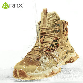 RAX Mens Waterproof Hiking Shoes Genuine Leather Mountain Boots Men Breathable Trekking Outdoor Man Climbing