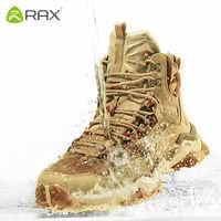 Rax メンズ防水ハイキングシューズ本革登山ブーツ男性通気性トレッキング靴屋外男性登山靴