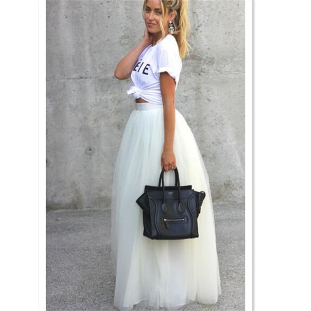 4a2f3d1155b Autumn Spring White Solid High Waist Fashion 7XL Plus Size Long Maxi Tulle Skirts  Runway Elegant TuTu Skirt Women