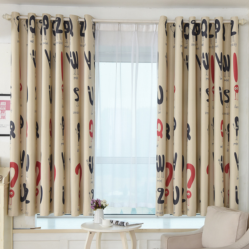 1Pcs Letters Cartoon Short Curtain Baby Blackout Curtains For Children Room  Cortina Para Quarto Living Room Window Half Curtain In Curtains From Home  ...  Short Blackout Curtains