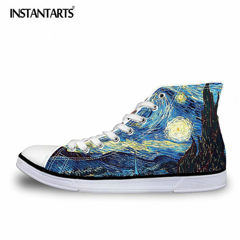 INSTANTARER Fashion Men High Top Canvas Skor Cool 3D Hand Paint Konsttryck Snörning Vulcanize Shoes Man Comfort Flat Skor